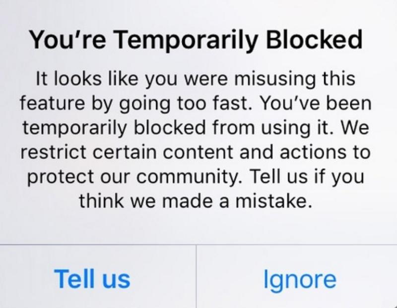 Instagram Temporary Action Blocked
